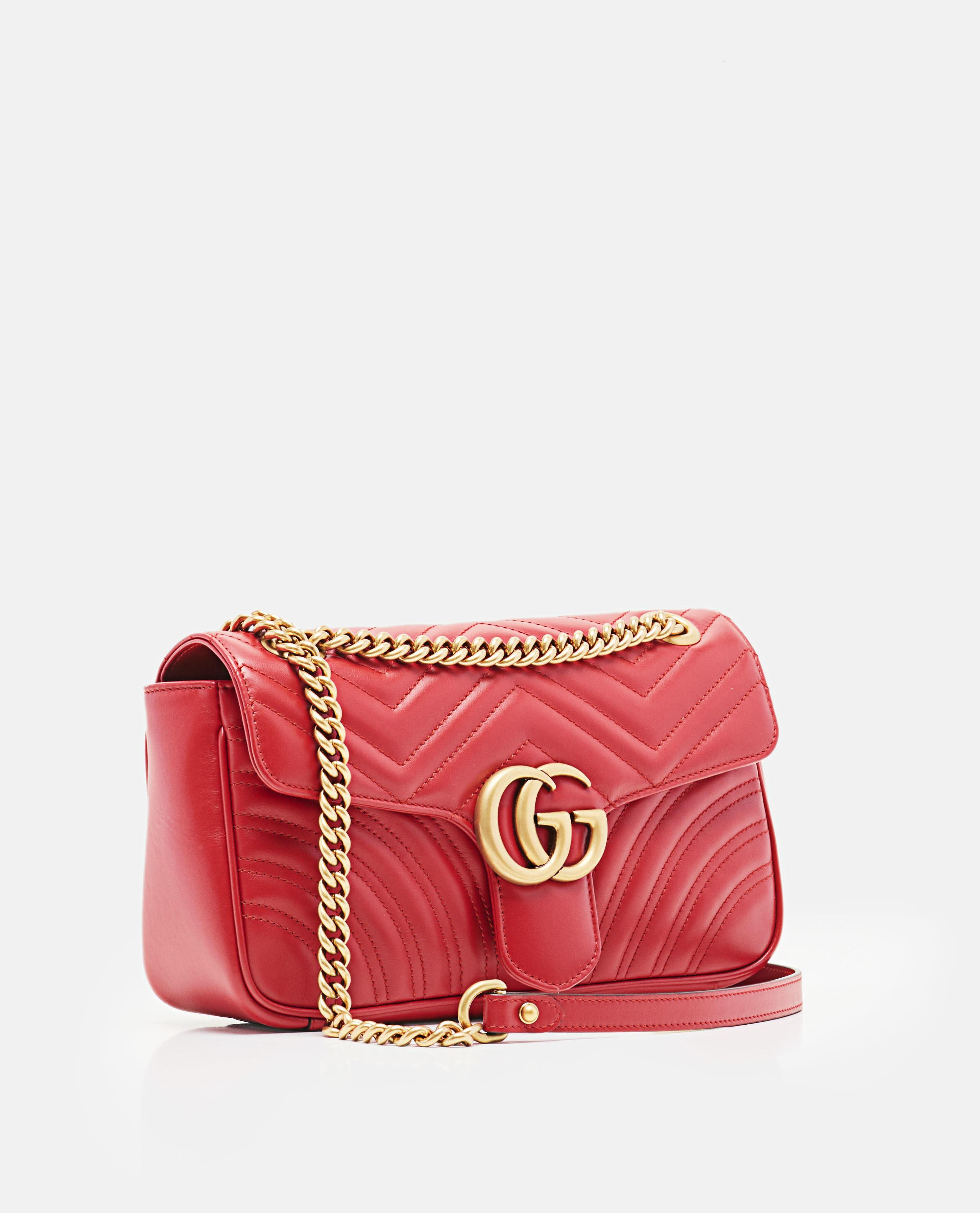 c983af810 Gucci Gg Marmont Small Matelassé Shoulder Bag in Red - Lyst