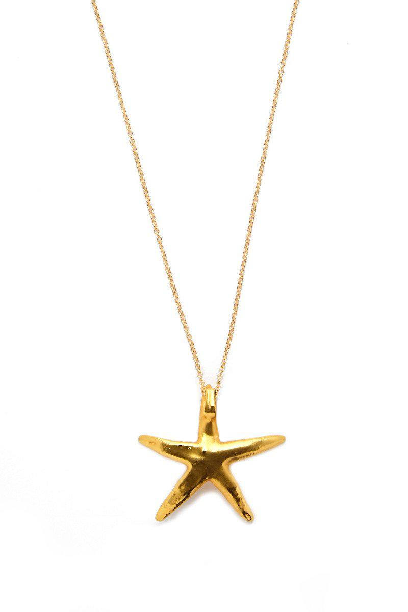 SEA DIPPED Real Starfish Necklace in Gold (Metallic)