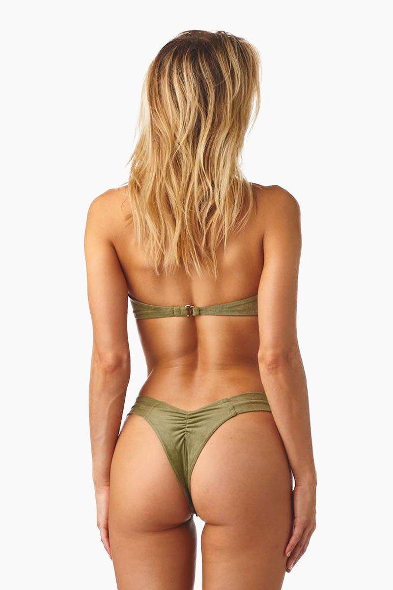 6a3a3b08880ea Lyst - Montce Swim Uno Brazilian Cut Scrunch Bikini Bottom - Olive ...