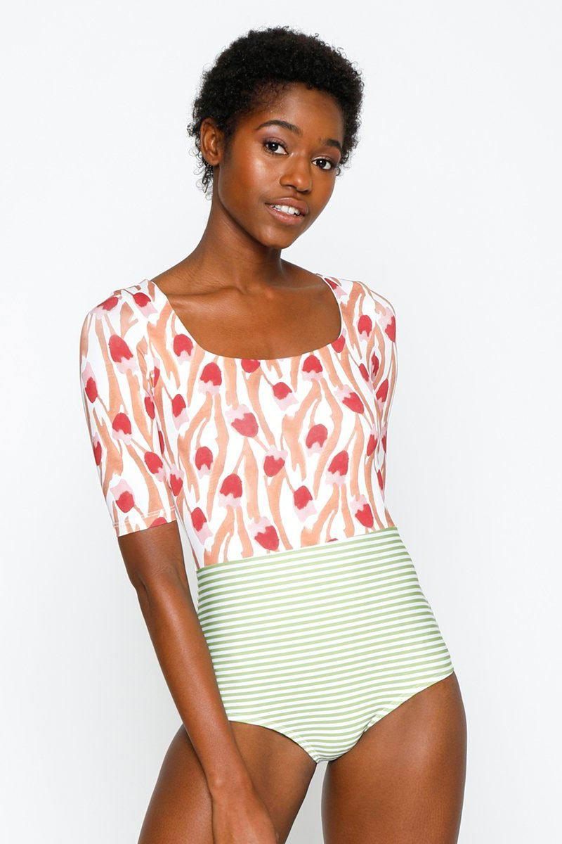 91c310c3a4414 Seea. Women s Red Zuma Square Neck Color Blocked One Piece Swimsuit - Tulip  Print