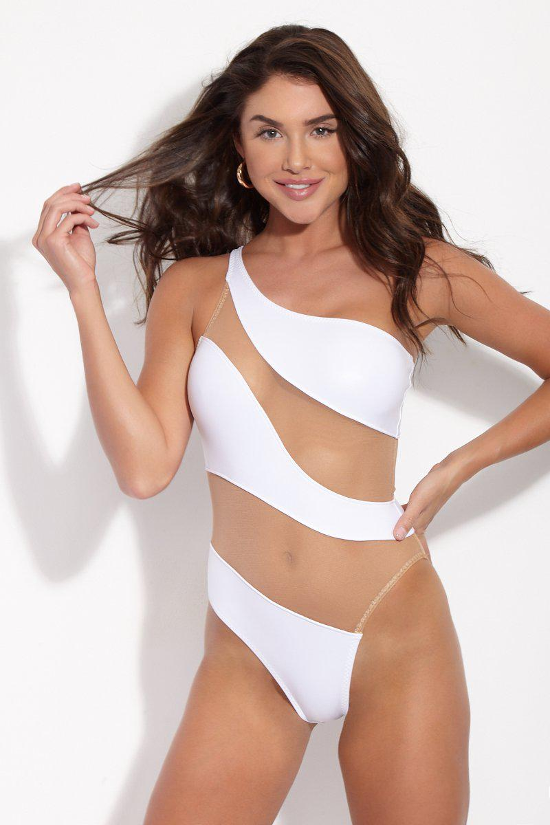 00df8e4663 Lyst - Norma Kamali Snake Mesh Mio One Piece in White