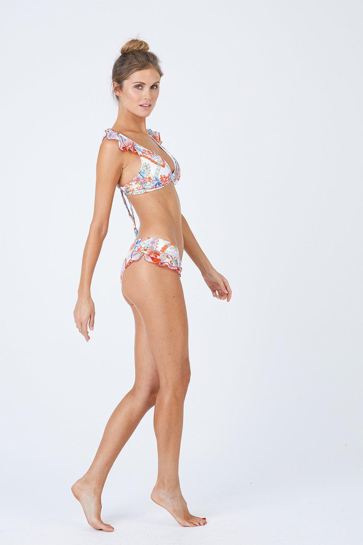 a33fb081dacdc Luli Fama - Multicolor Ruffle Strap Triangle Bikini Top - Merenguito -  Lyst. View fullscreen