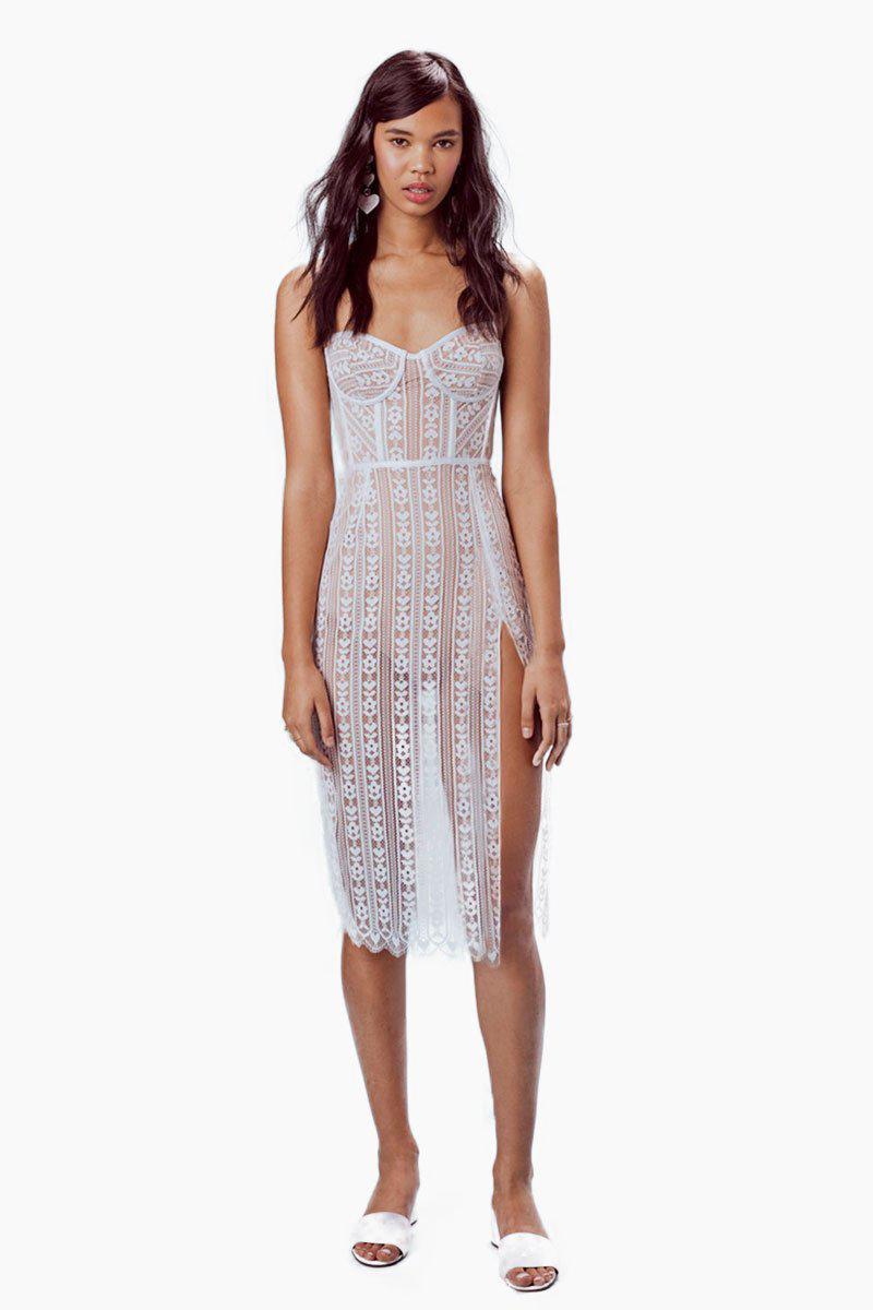 Dakota Lace Midi Dress White