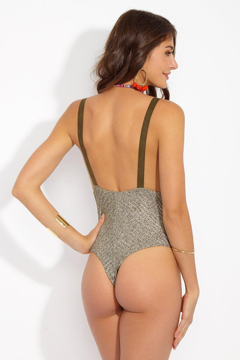 0601694e009c5 Tap to visit site. Blue Life - Metallic Buckled Ribbed Overall One Piece  Swimsuit -tarnished ...