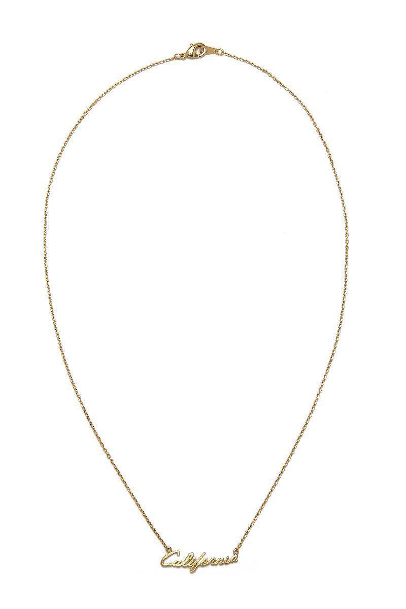 JEWEL CULT California Script Pendant Necklace in Gold (Metallic)