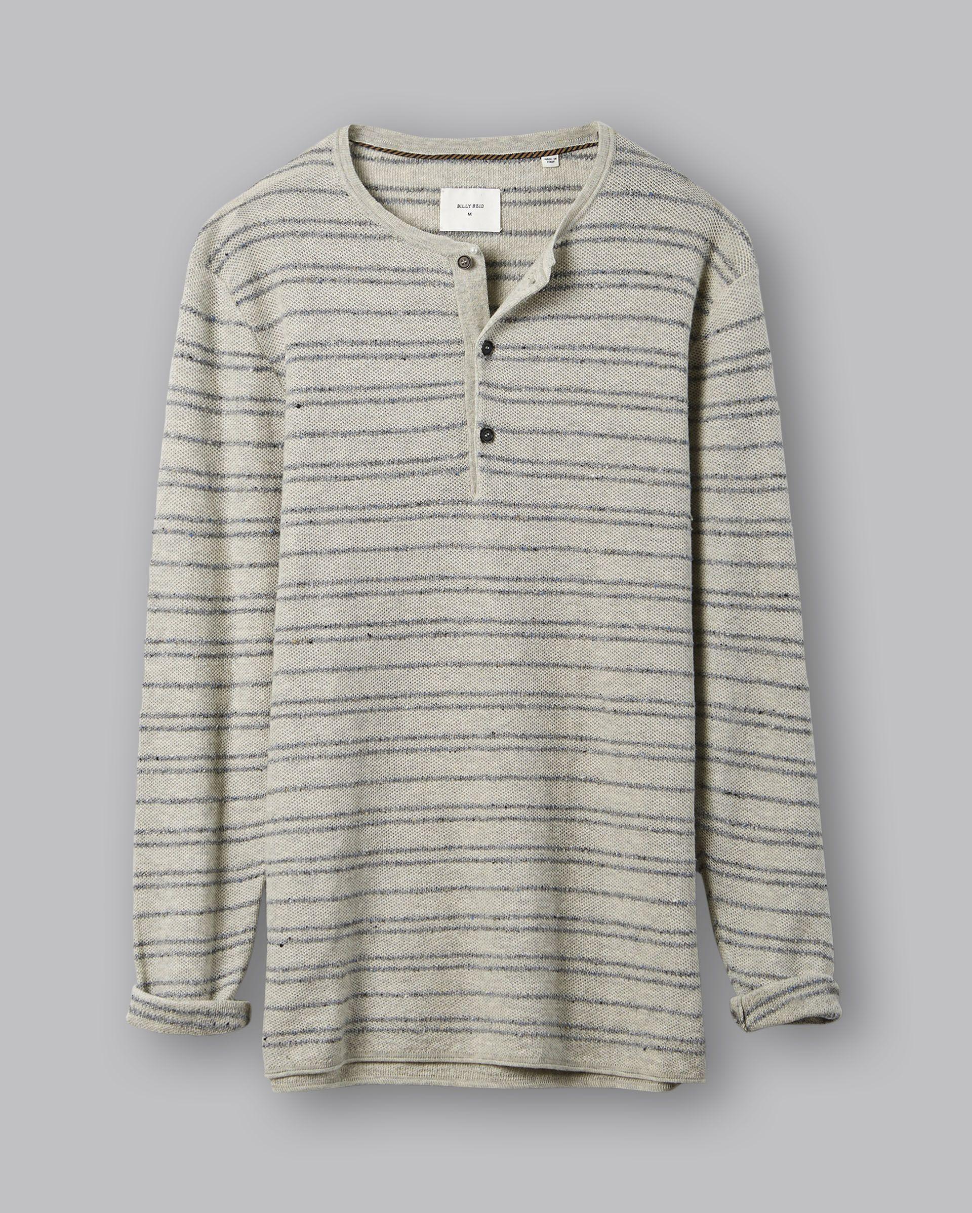 Billy Reid Mens Line Drawn Stripe Short Sleeve Henley