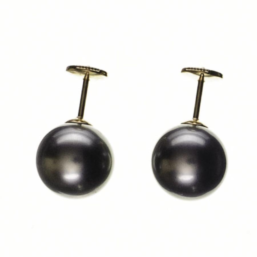 Black Co Uk Women S Cordelia Large Round Tahitian Pearl Ear Studs