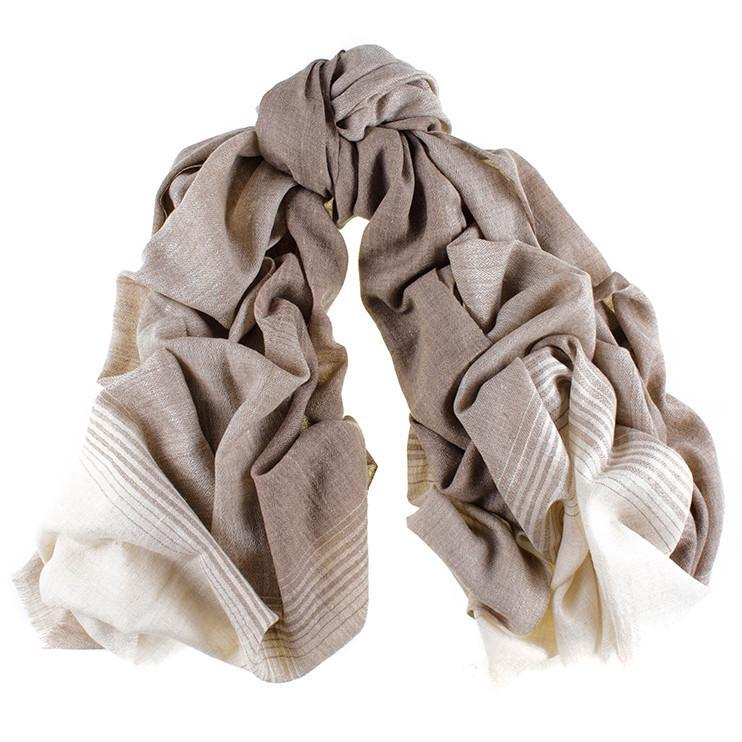 ec9987f37 Black.co.uk Cream And Caramel Cashmere Ring Shawl in Natural - Lyst