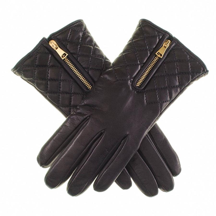 Black leather quilted gloves with cashmere lining -  Black Leather Quilted Gloves With Cashmere Lining Lyst View Fullscreen
