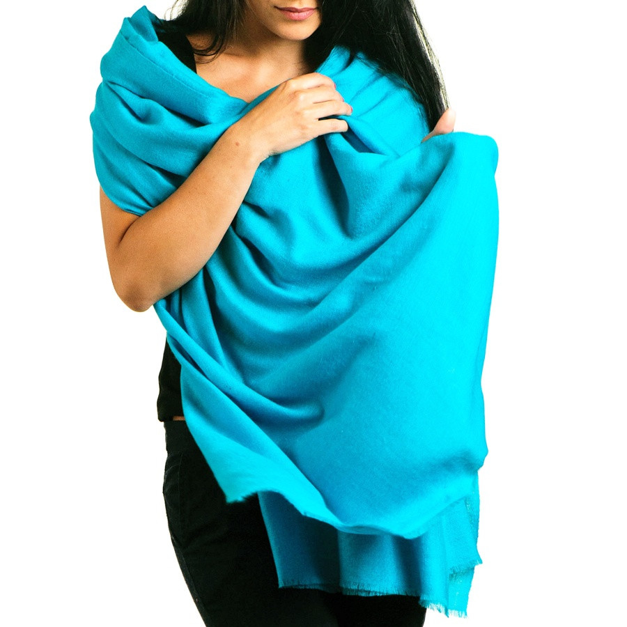 Black.Co.Uk Turquoise Cashmere Shawl In Blue