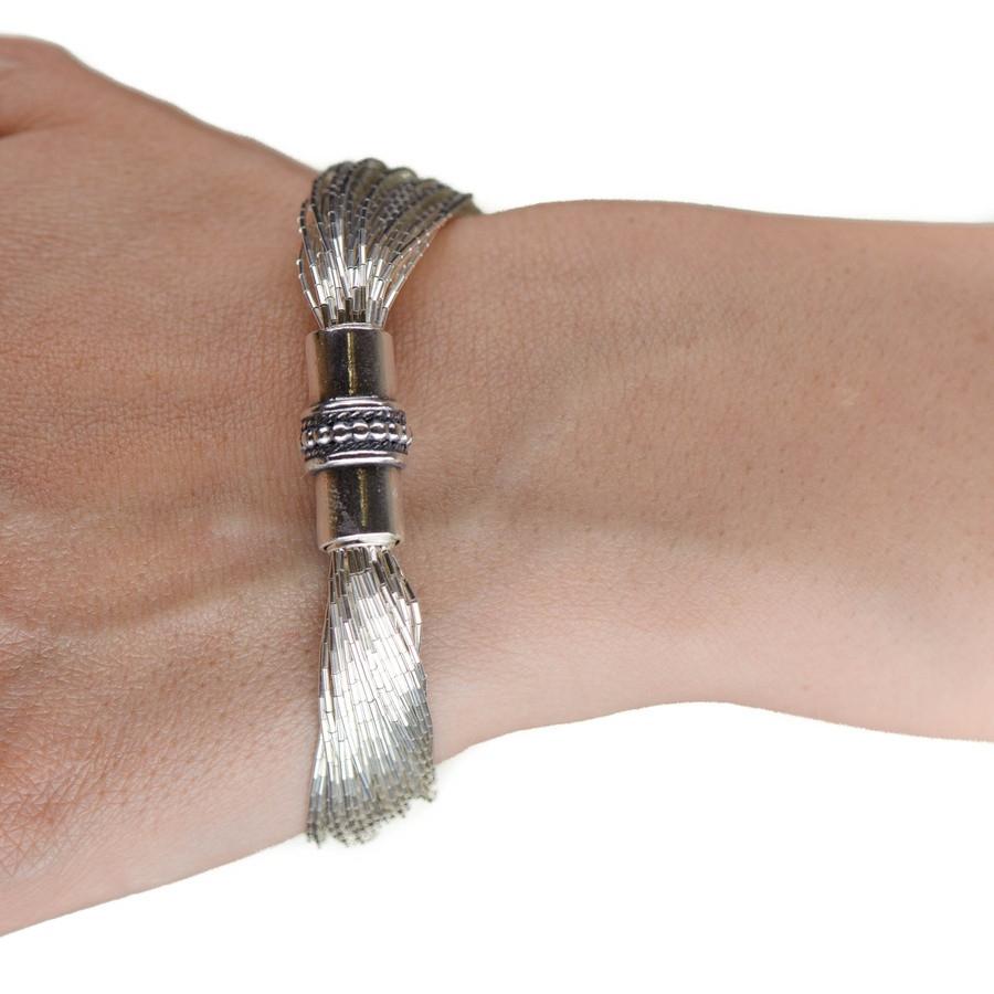 Black Amelia Multi Strand Silver Bracelet
