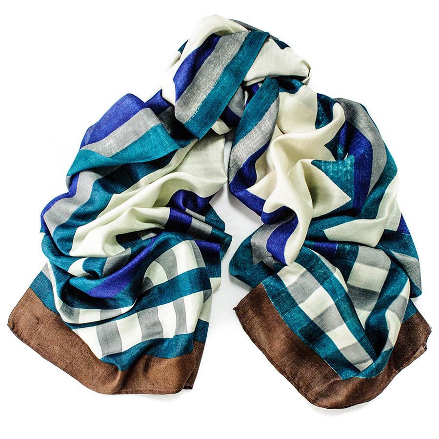 black co uk iona organic silk scarf in blue lyst