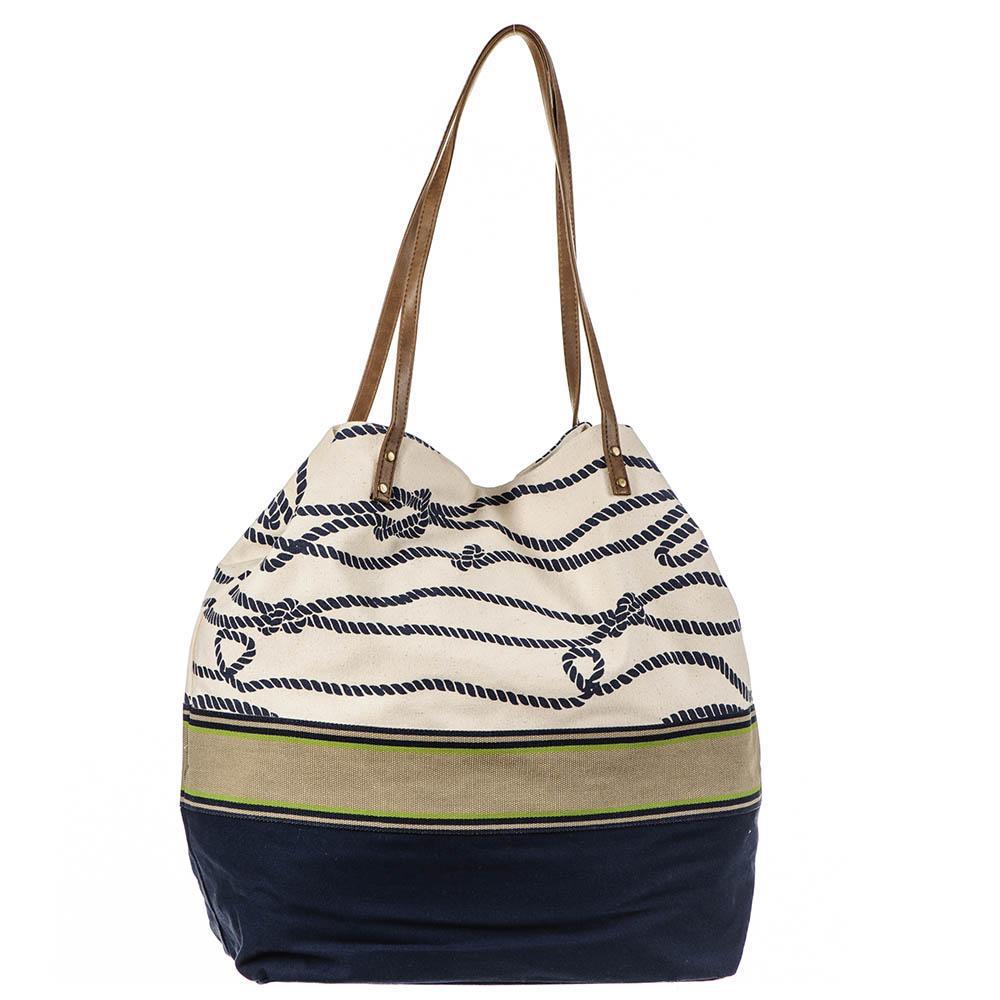 Black Co Uk Women S Natural Nautical Navy And Cream Beach Bag