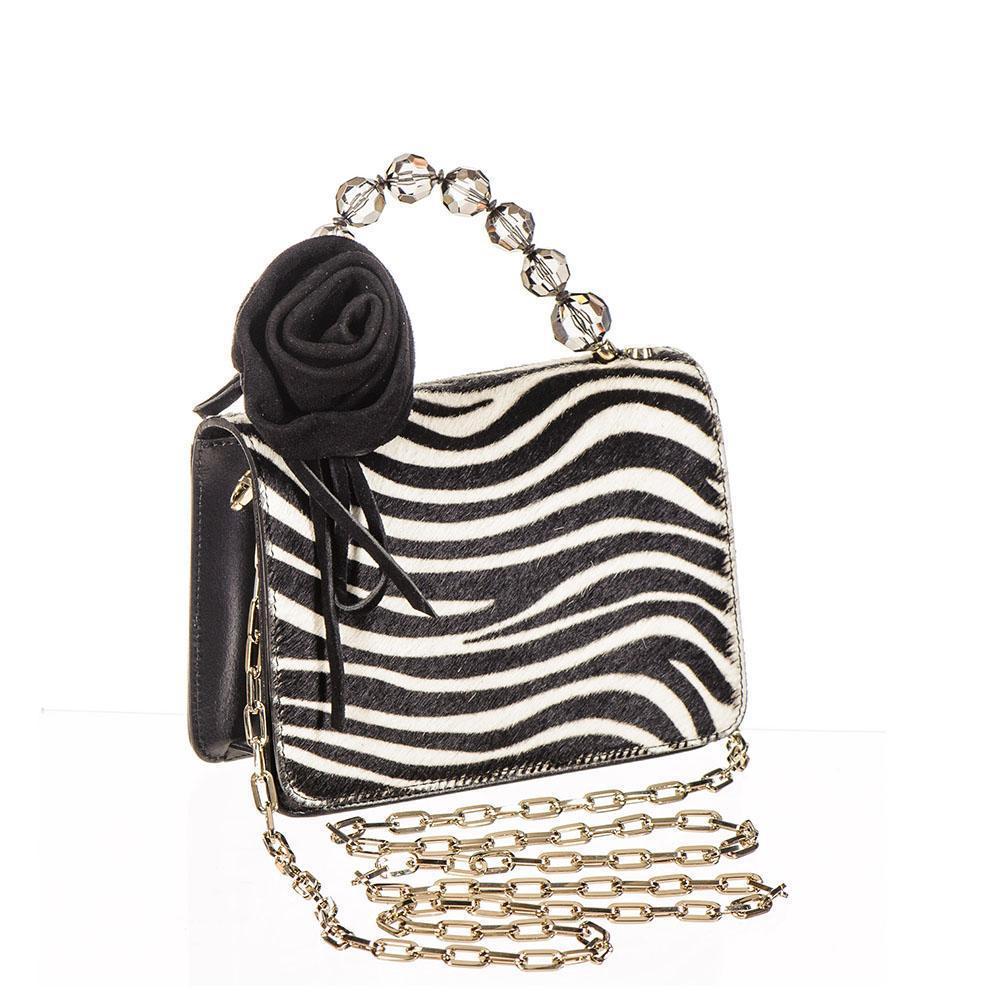 Zebra Print Calf Hair and Black Leather Mini Bag 5gtCKy7q2