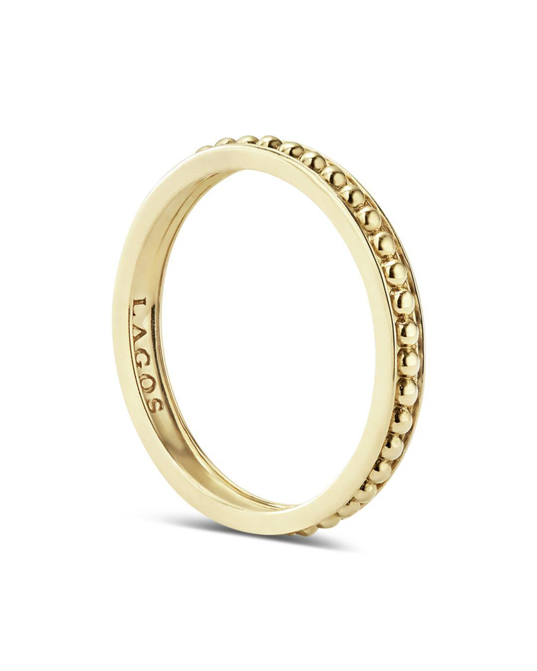 Lagos Caviar Gold Collection 18k Gold Beaded Stacking Ring in Metallic