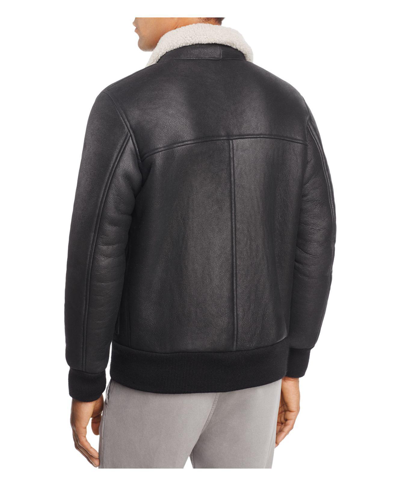 Eidos Cain Shearling Flight Jacket in Black for Men