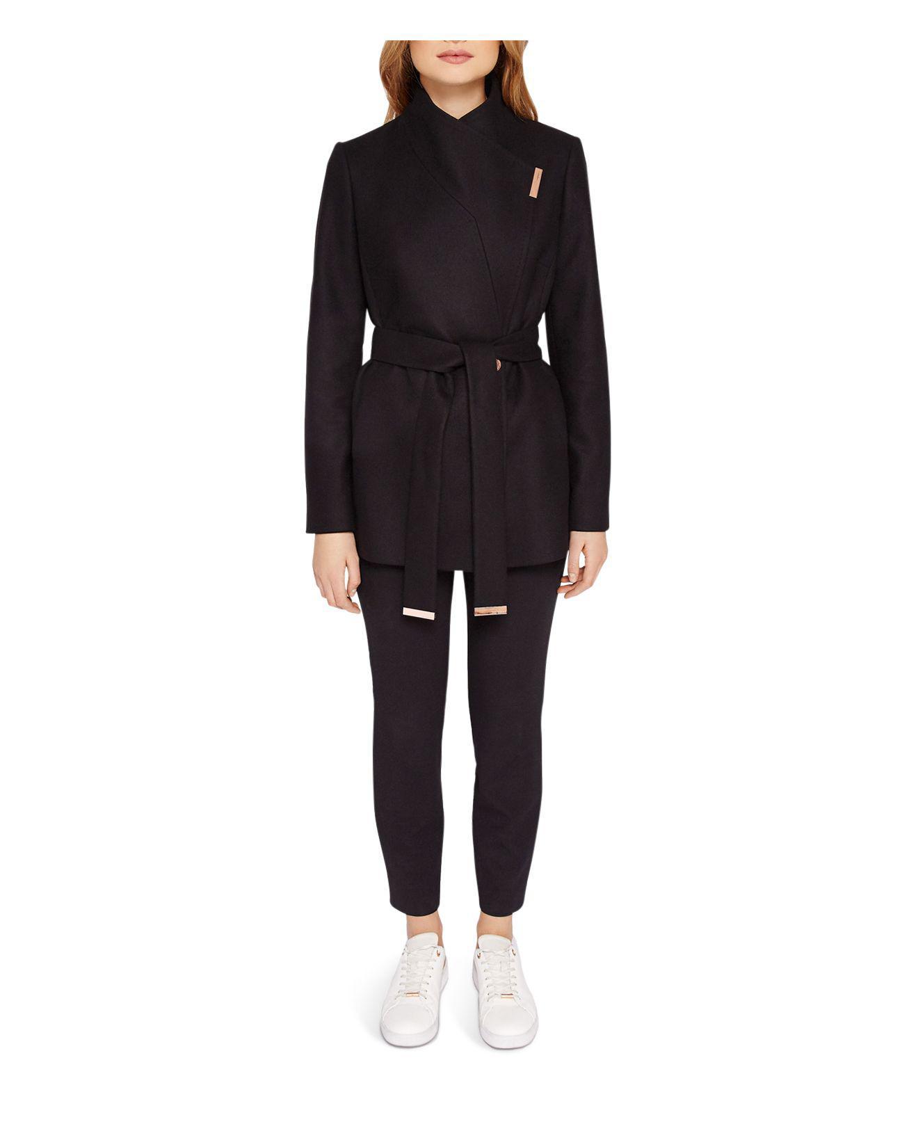 Ted Baker Keyla Short Wrap Coat In Black