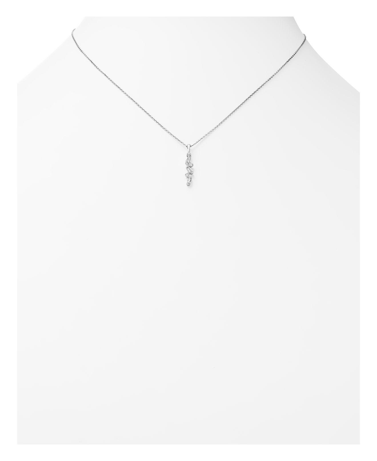 Bloomingdale's Diamond Round And Baguette Pendant Necklace In 14k White Gold, .15 Ct. T.w.