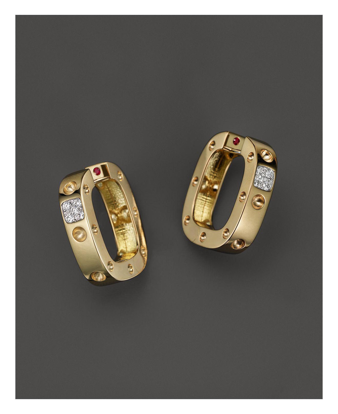 Roberto Coin Pois Moi 18k Square Diamond Stud Earrings 36e3Nx