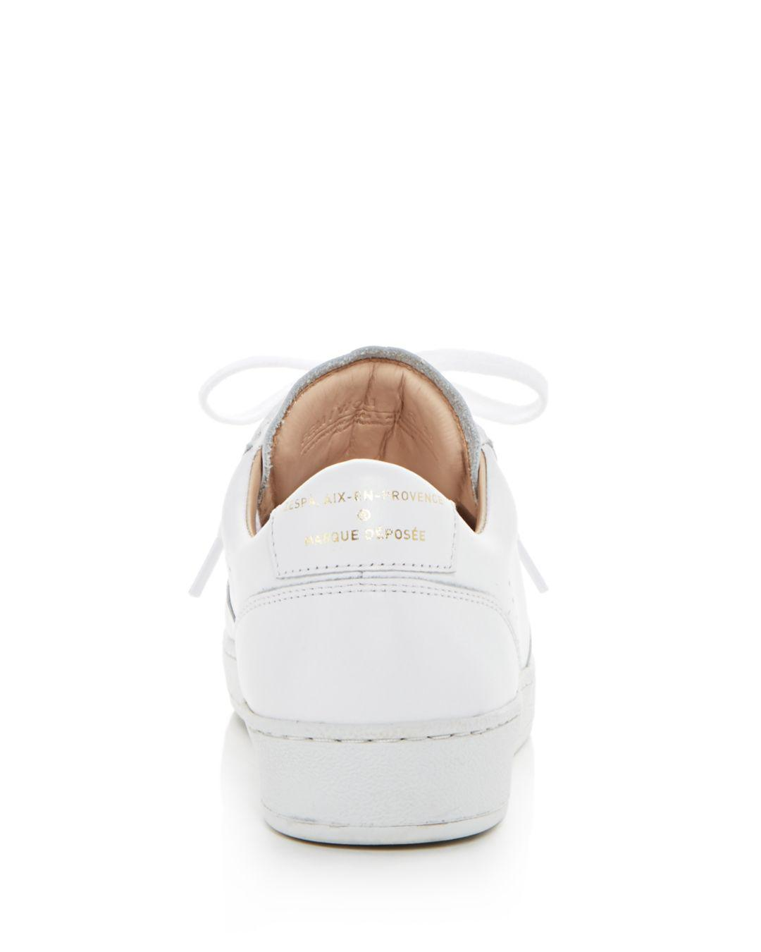 Zespà Women's Dessus Perforated Leather Lace Up Sneakers in White