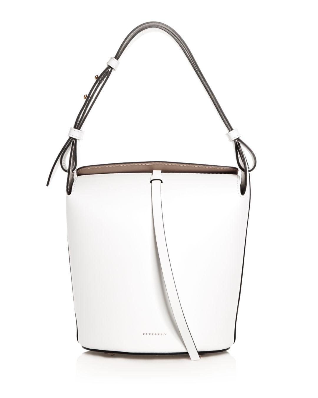 19214d722104 Lyst - Burberry The Small Leather Bucket Bag in White