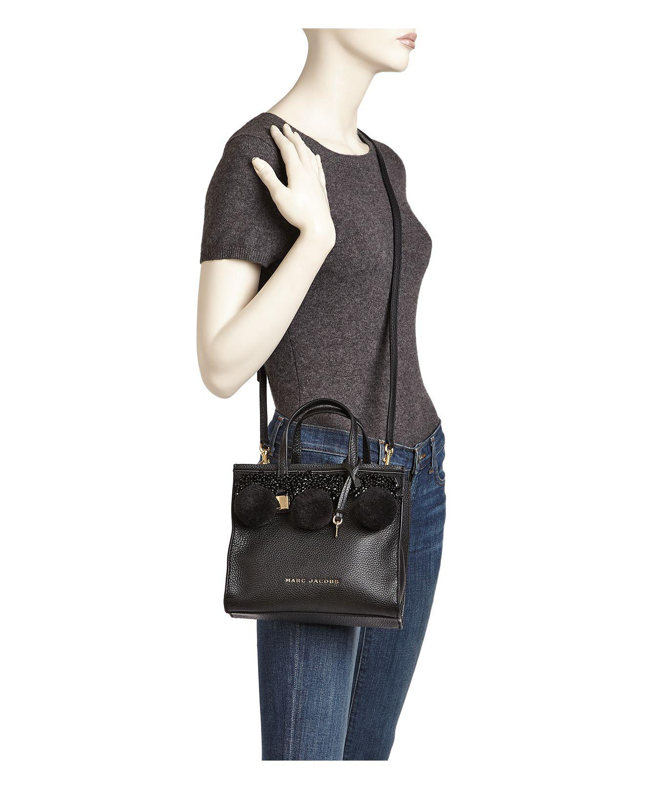 c34d82ee41df Lyst - Marc Jacobs The Mini Grind Beads   Poms Leather Crossbody in ...