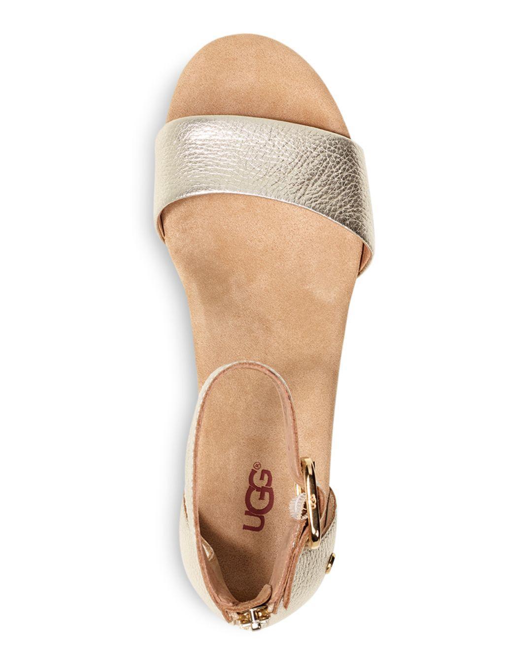 cb5f71b1aff Ugg - Women s Zoe Ii Metallic Leather Cork Wedge Ankle Strap Sandals -  Lyst. View fullscreen