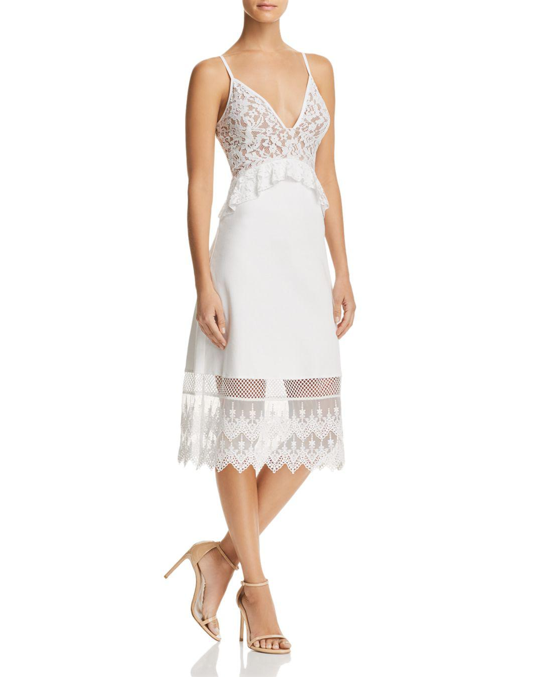 227d09140d French Connection Delos Lucky Layer Lace-detail Dress in White - Lyst