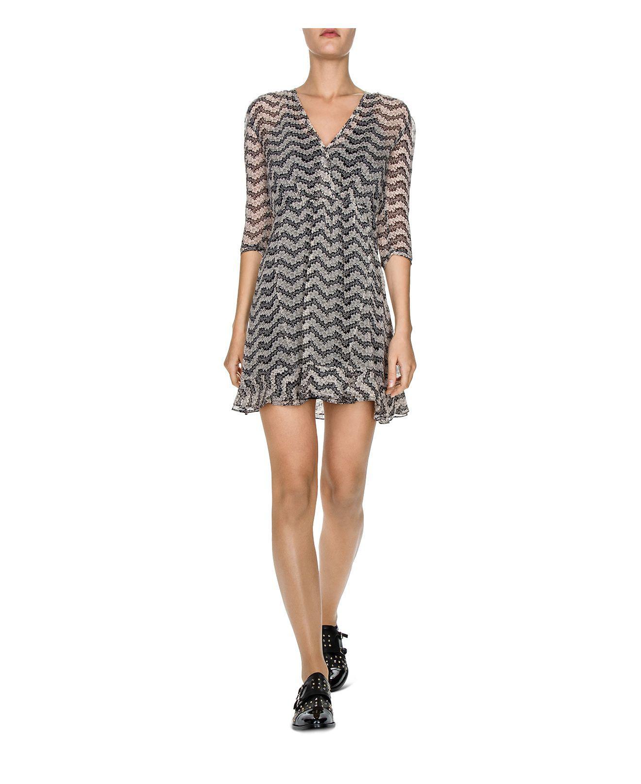 0fdc3050fd0 The Kooples Jasmine-print Silk Dress in Black - Lyst