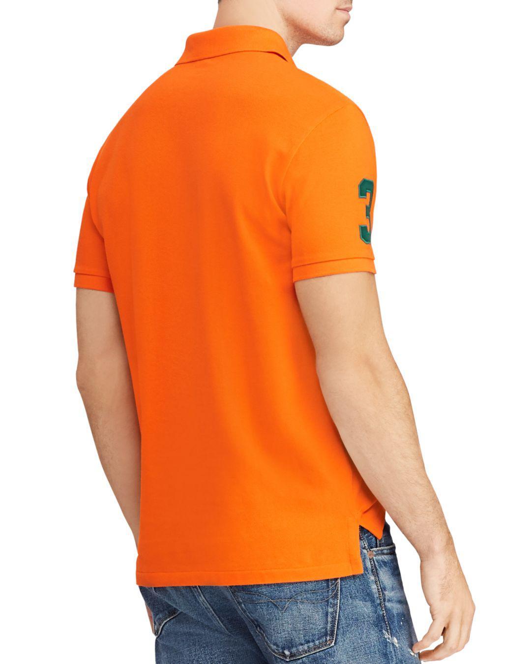 9db11a3b Lyst - Polo Ralph Lauren Mesh Custom Slim Fit Polo Shirt in Orange for Men