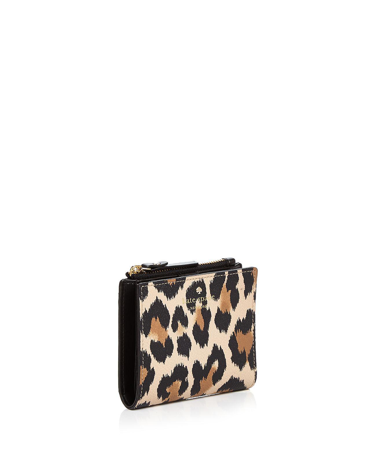 51d8bef60be7 Kate Spade Hyde Lane Adalyn Leopard Print Leather Wallet - Lyst