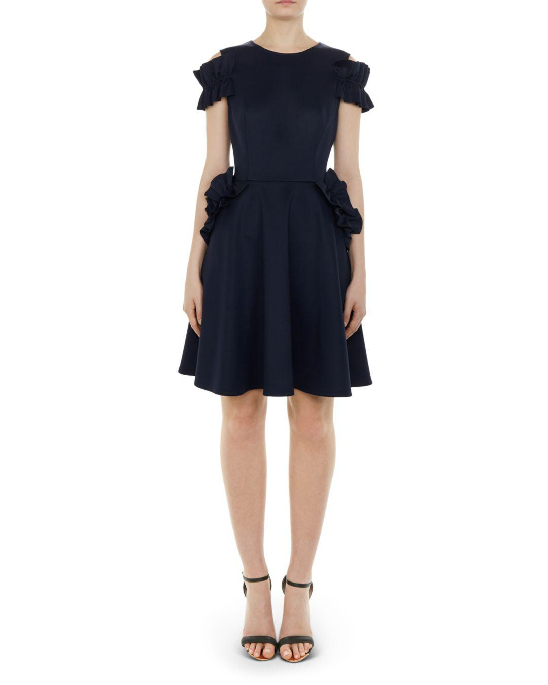 117a9ced024903 Lyst - Ted Baker Deneese Ruffled Cold-shoulder Dress in Blue