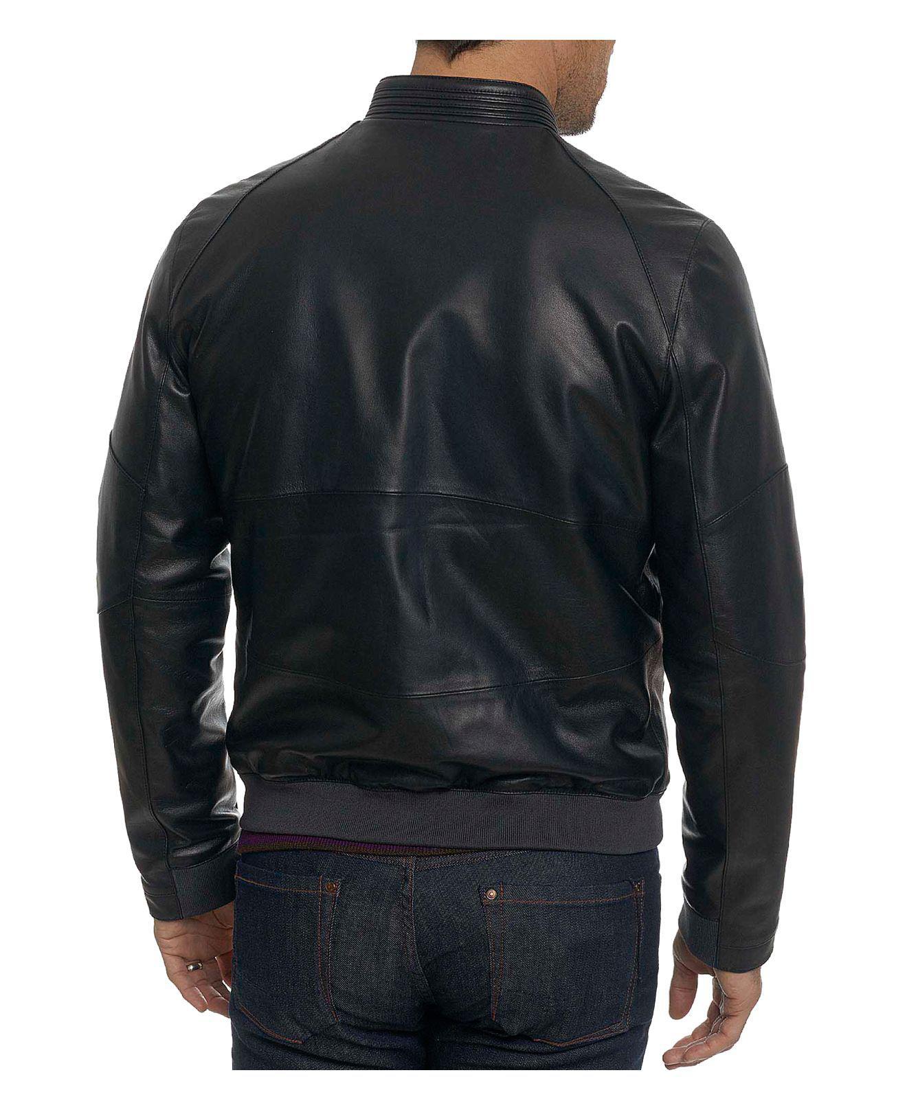 Robert Graham Massena Leather Bomber Jacket in Black for Men