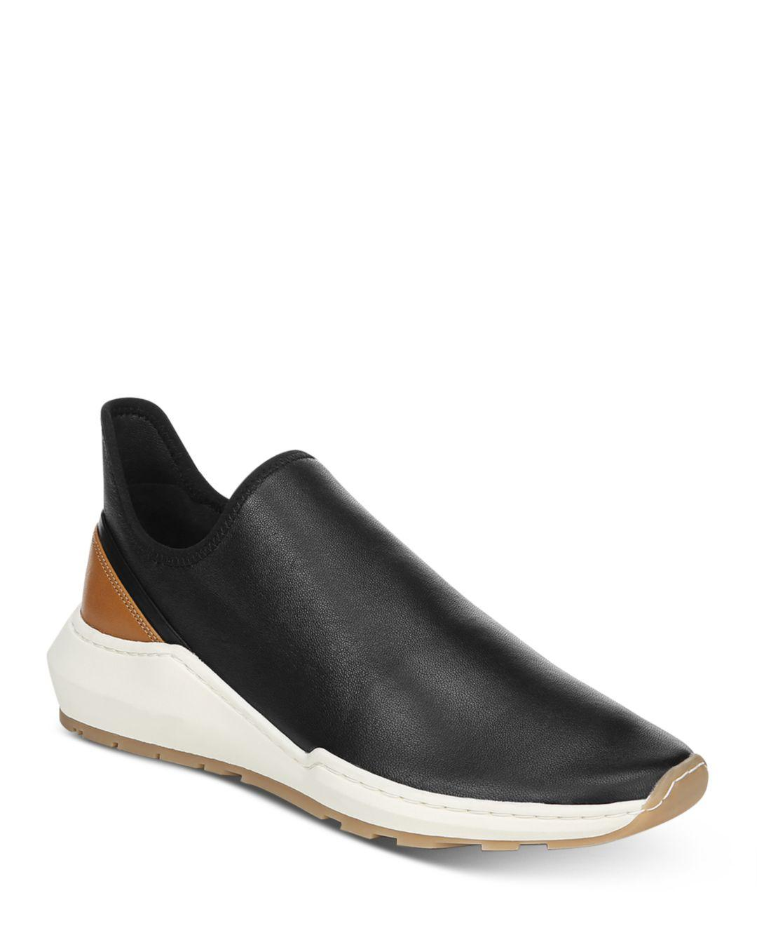vince black leather slip on sneakers