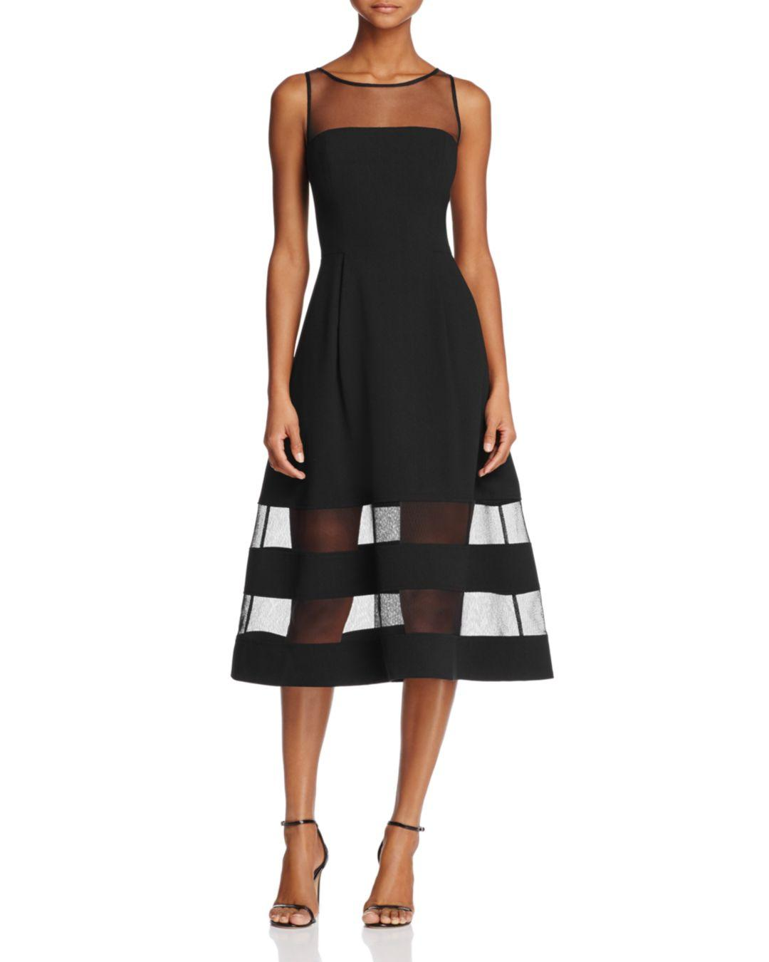 7d0da173283 Aidan By Aidan Mattox Illusion Fit - And - Flare Dress in Black - Lyst