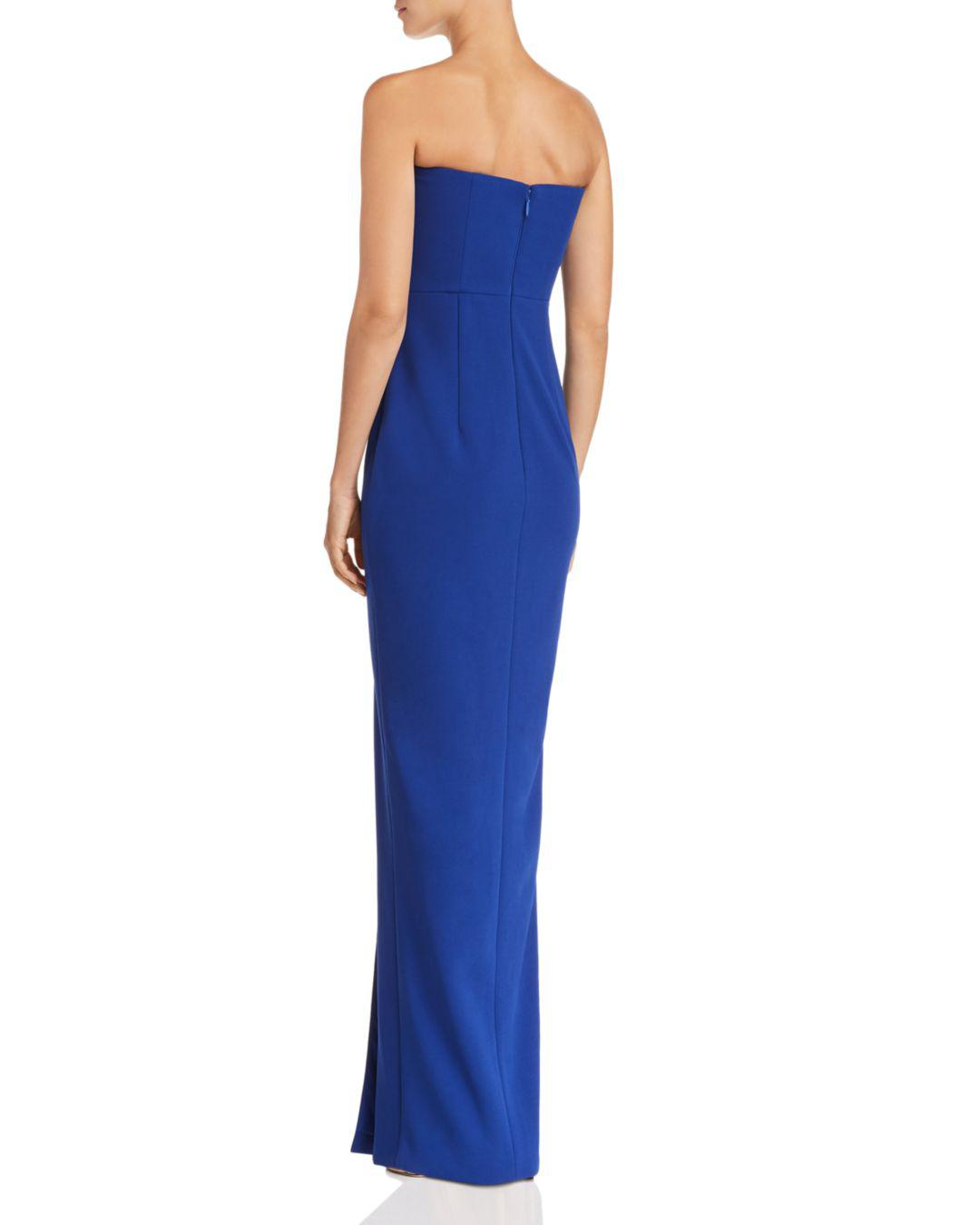 5b00f1f4a1371 Lyst - Bariano Strapless Column Gown in Blue