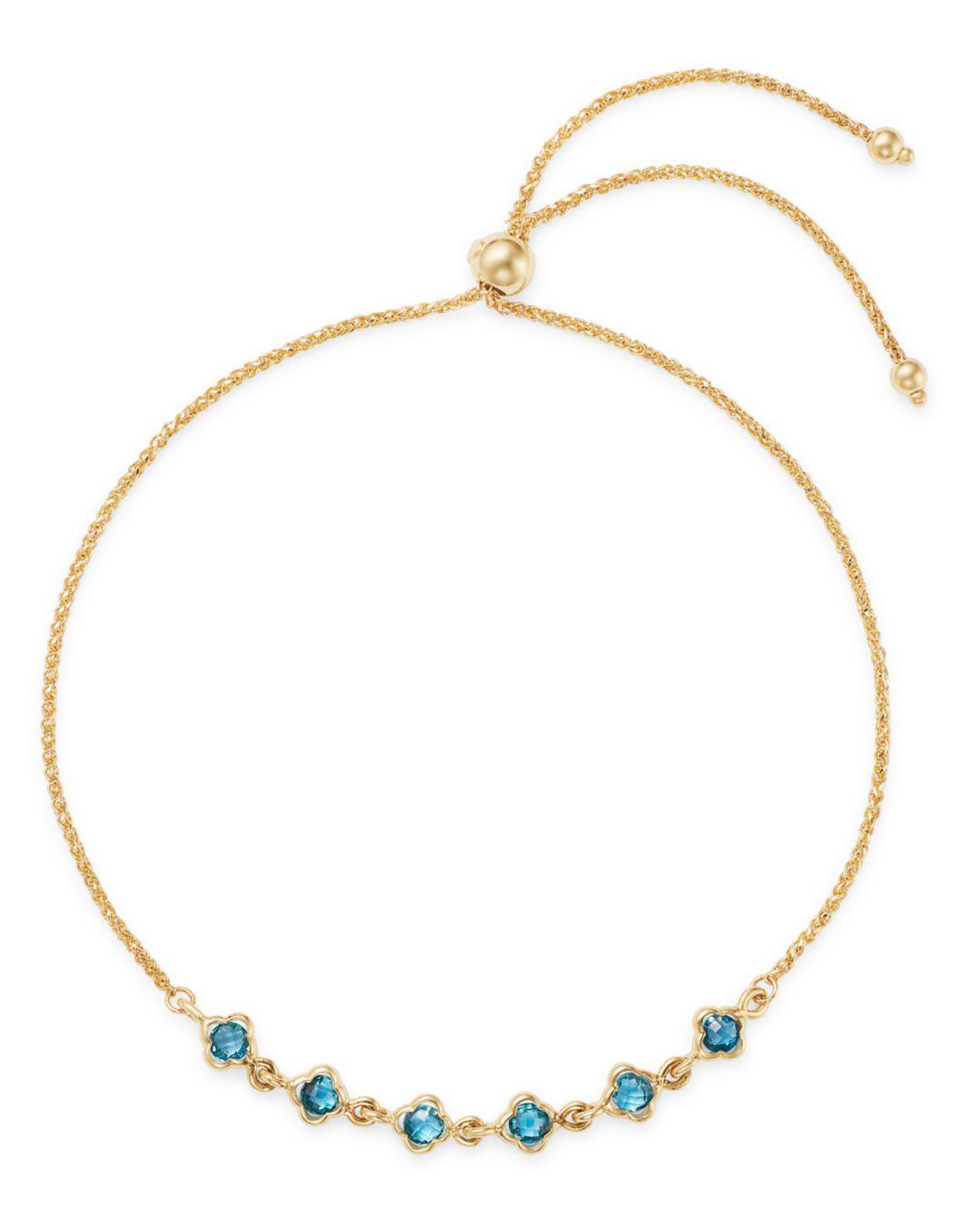 0bd85771aaa882 Bloomingdale's - London Blue Topaz Mini Clover Bolo Bracelet In 14k Yellow  Gold - Lyst. View fullscreen