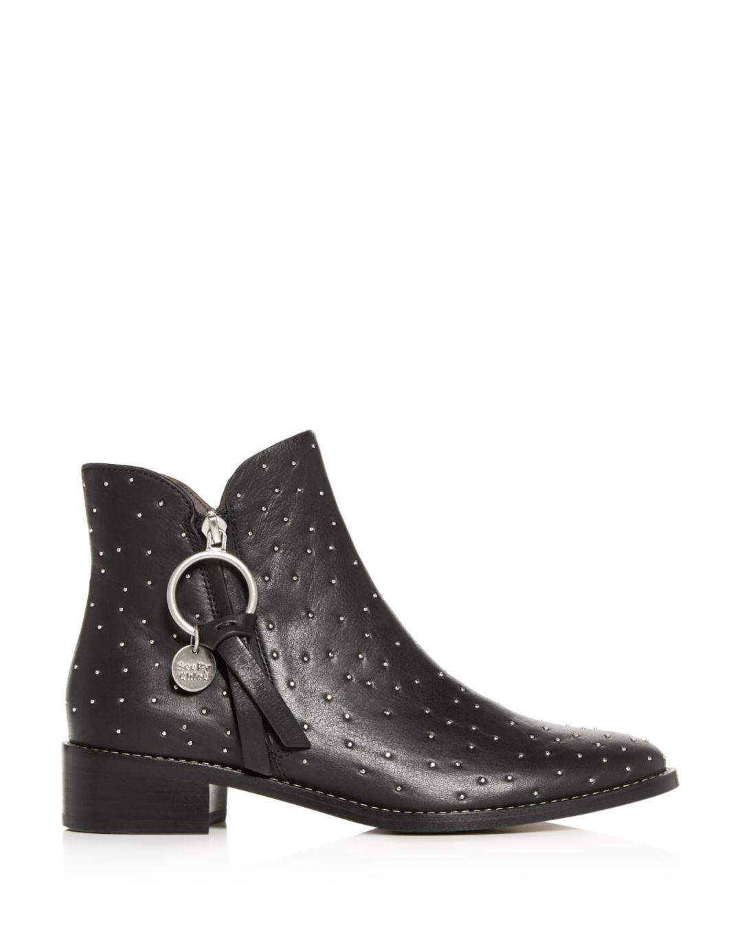 19d317d5 See By Chloé Black Women's Studded Low - Heel Booties