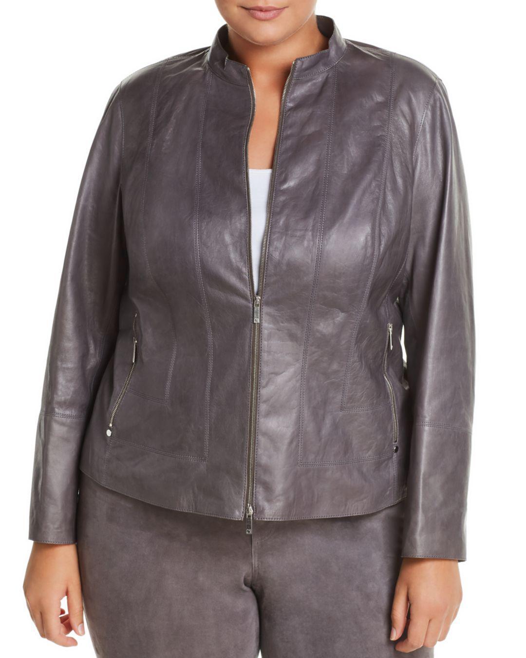 1fdba447471 Lyst - Lafayette 148 New York Sadie Lambskin Jacket in Gray
