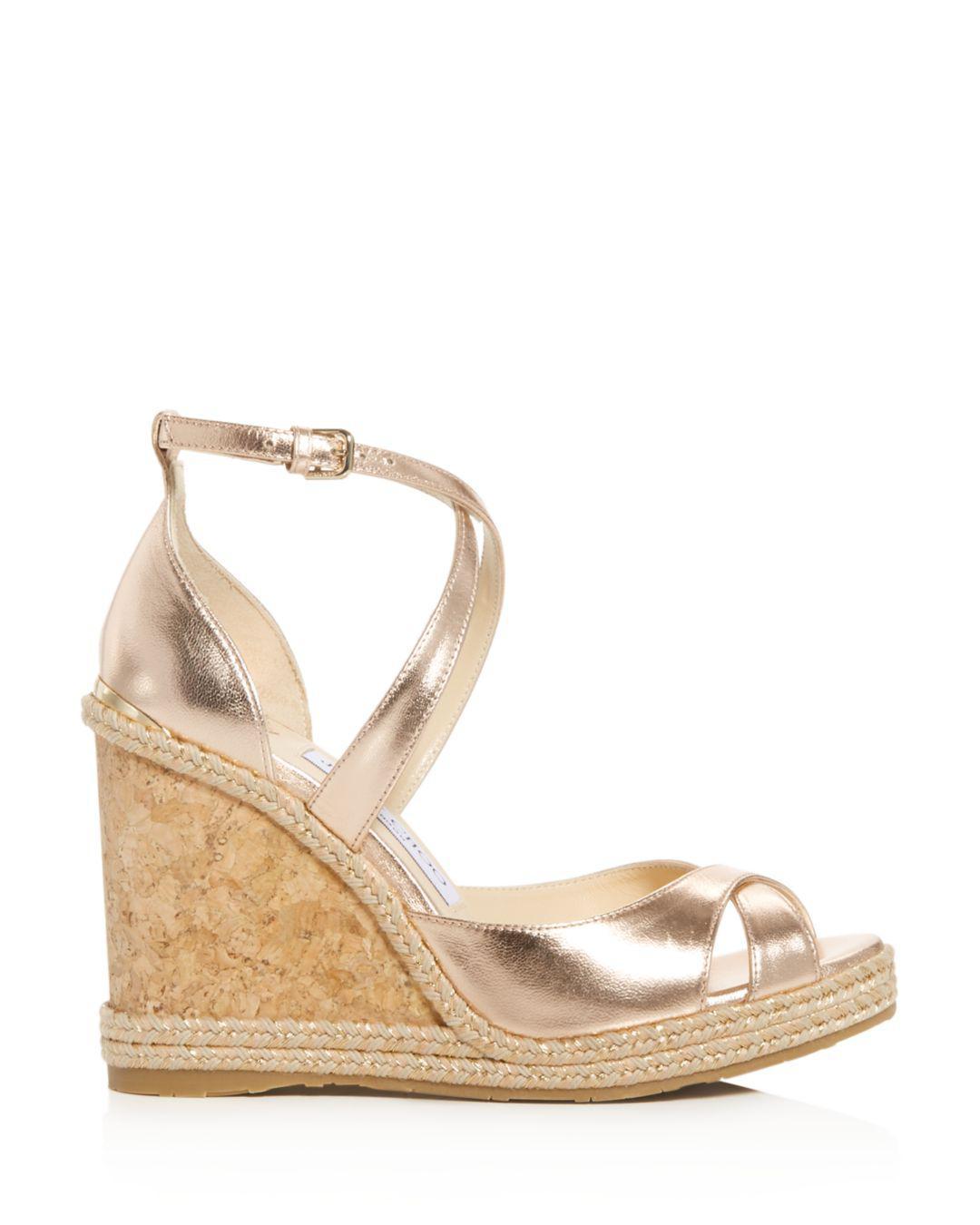 c7f4d57953d0 Lyst - Jimmy Choo Women s Alanah 105 Crisscross Wedge Sandals