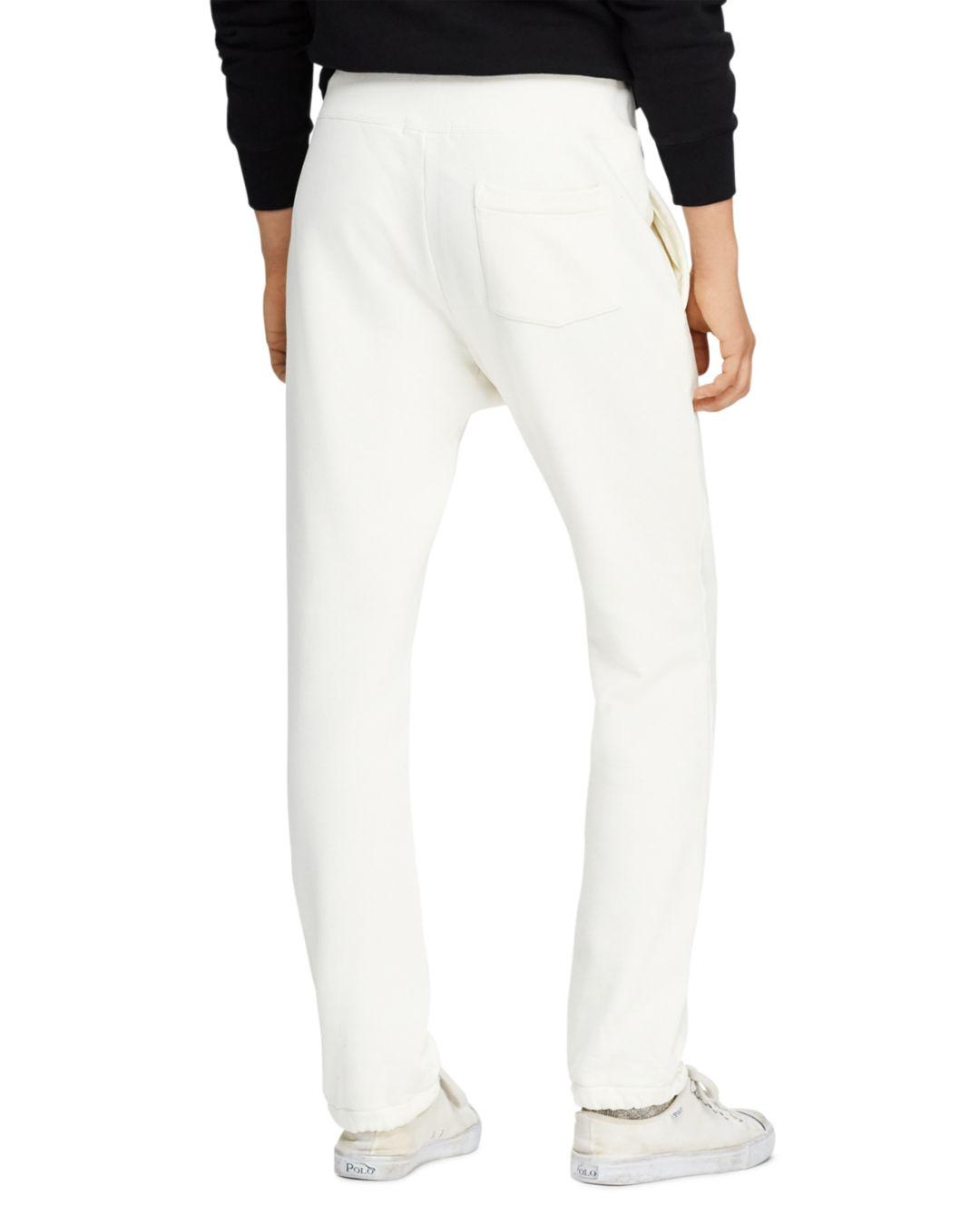 a896bdcab6ae Lyst - Polo Ralph Lauren Yale Patch-accented Fleece Jogger Pants in White  for Men