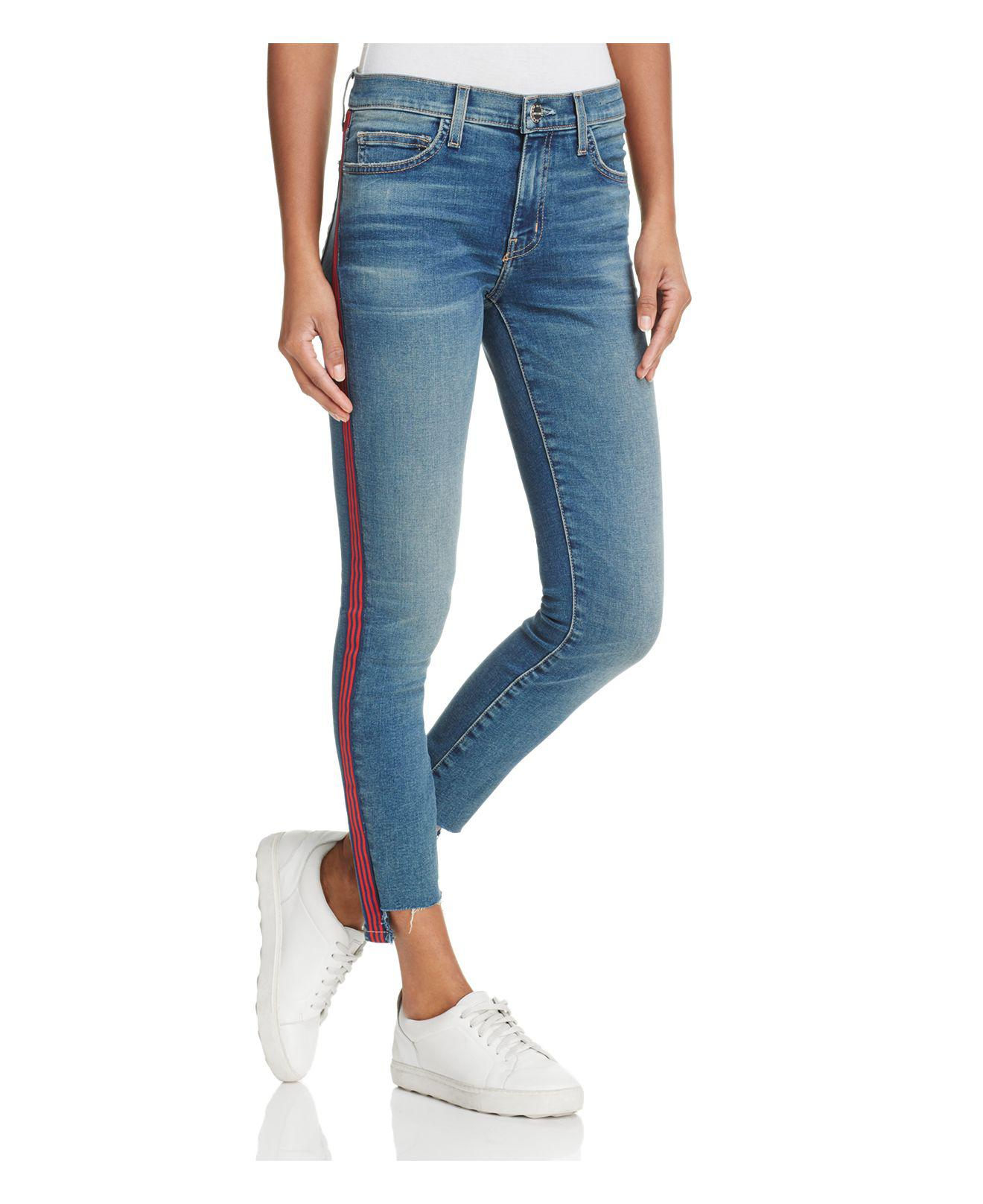 a87341e3d3 Lyst - Current Elliott The Highwaist Stripe Jeans In Powell in Blue