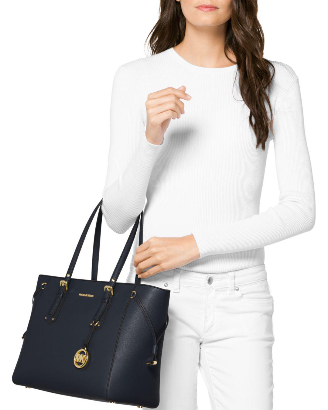88c7f0242be9db MICHAEL Michael Kors Voyager Multi-function Top Zip Medium Leather Tote in  Blue - Save 8% - Lyst