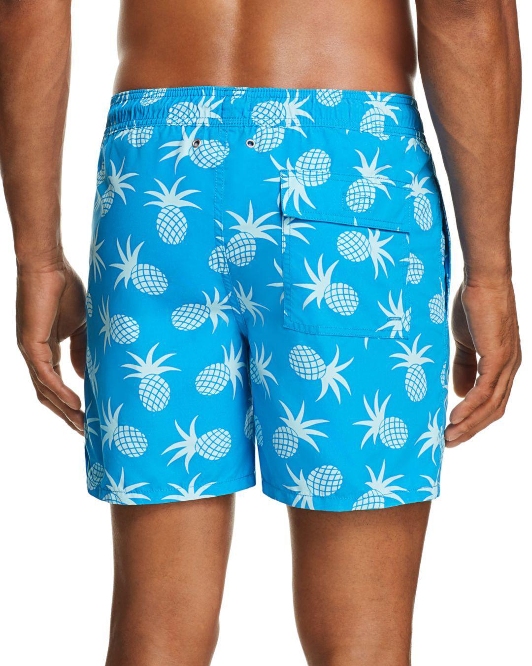 875b6cfe817d1 Tom & Teddy Pineapple Print Swim Trunks in Blue for Men - Lyst