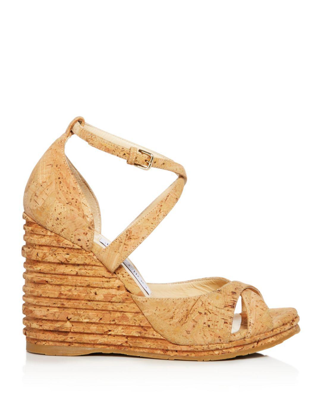 06b61734b80 Jimmy Choo Women s Alanah 105 Cork Platform Wedge Sandals in Natural - Lyst