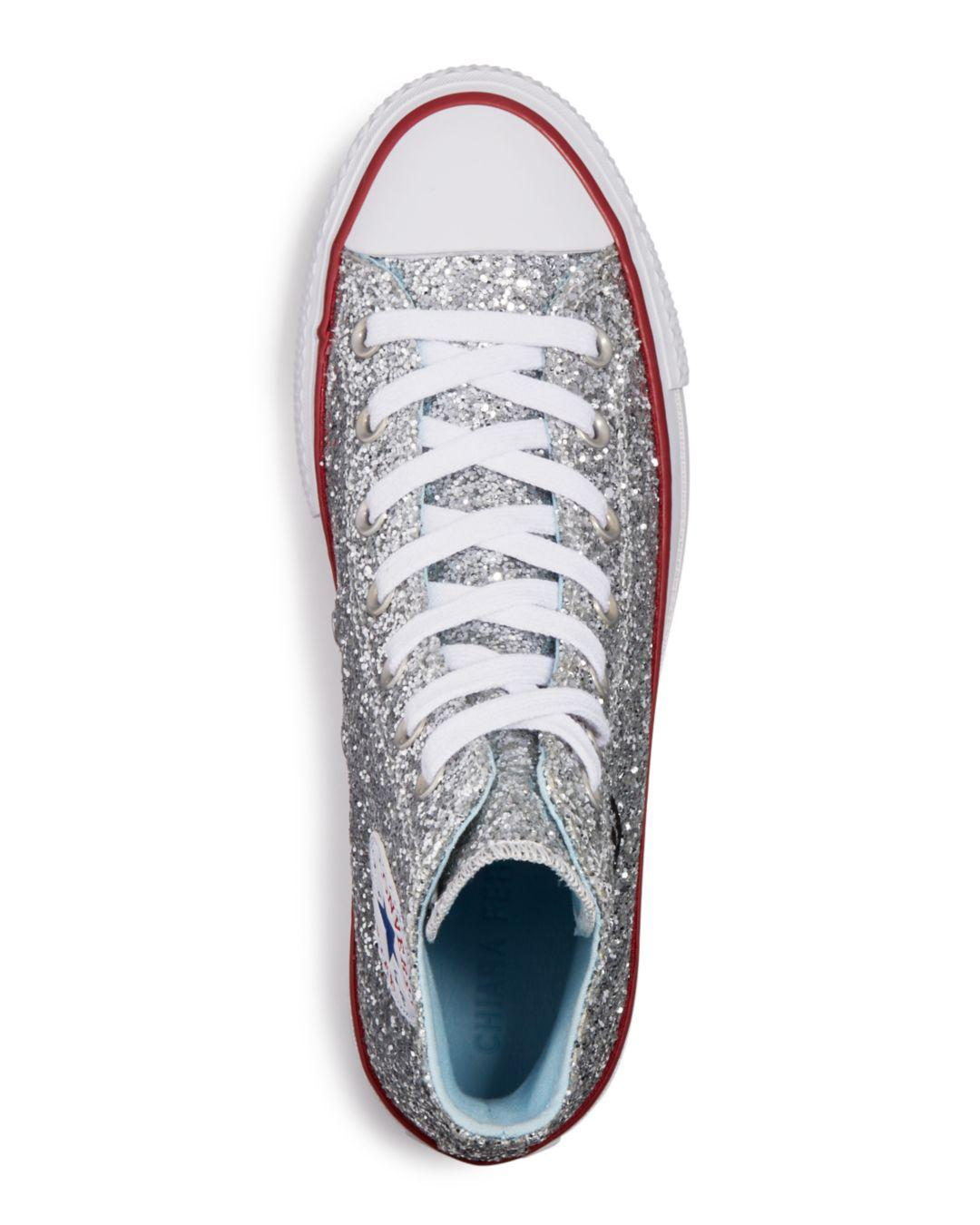 f3a55829d50120 Converse X Chiara Ferragni Women s Chuck Taylor Glitter High Top Sneakers  in Metallic - Save 5% - Lyst