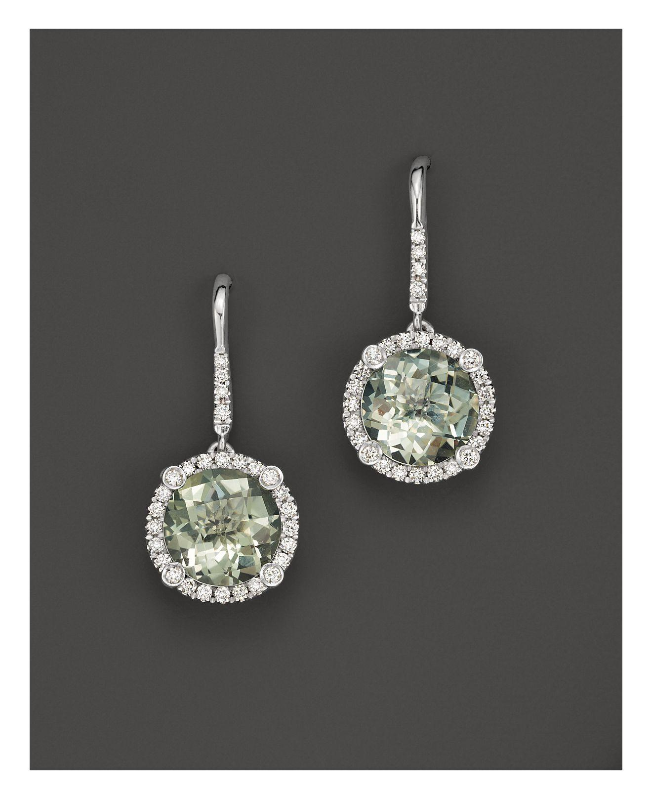 roberto coin 18k white gold and prasiolite drop earrings