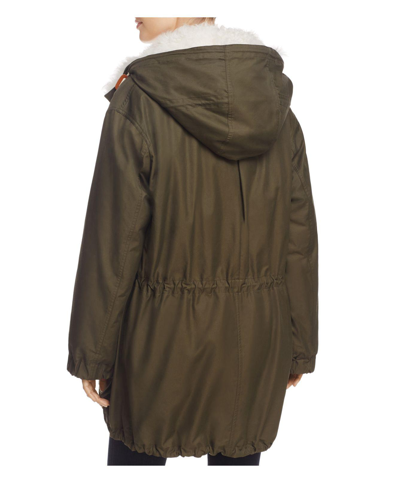 Theory Sharya Shearling-trim Parka in Forest Green (Green)