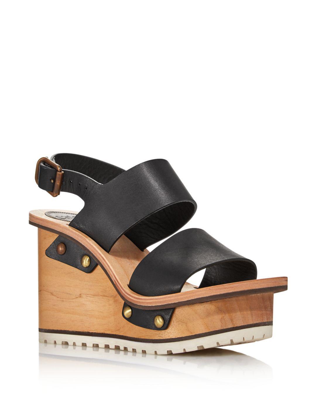 c1d87e5bf68 Lyst - Chloé Women s Valentine Platform Wedge Sandals in Black