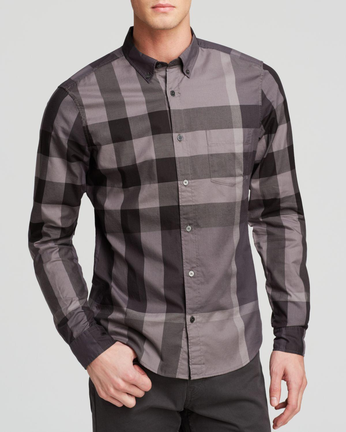 Burberry Fred Check Slim Fit Button Down Shirt In Gray For
